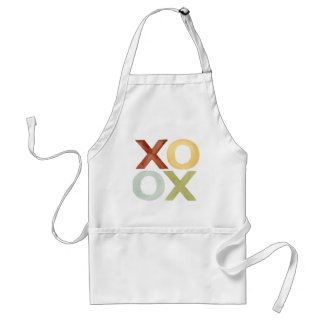XO OX red yellow grey green watercolor Standard Apron