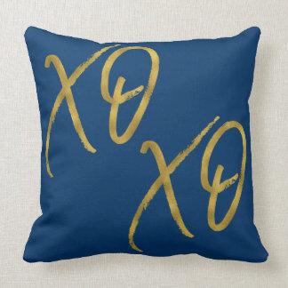 XO XO Hugs and Kisses Love Faux Gold Foil Pillow
