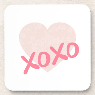 XOXO And A Pink Heart Coaster
