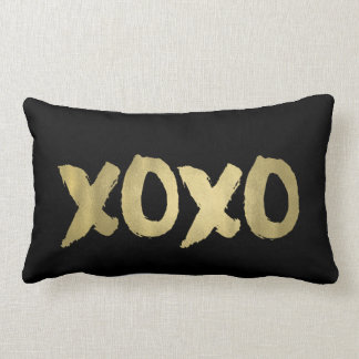 XOXO Black & Faux Gold Brushstroke Typography Lumbar Pillow