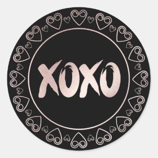 XOXO Blush Pink Black | Chic Brushstrokes Script Classic Round Sticker