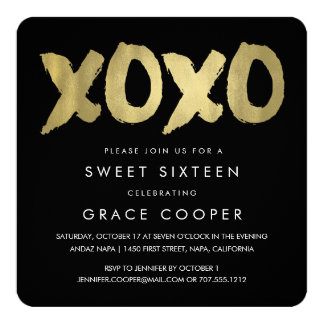 XOXO Faux Gold & Black Sweet Sixteen Card