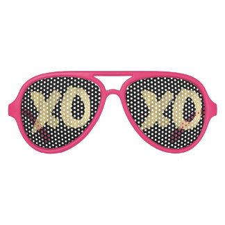 XOXO Faux Gold Pink & Black Sunglasses