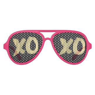 XOXO Faux Gold Pink & Black Sunglasses