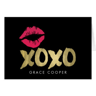 XOXO Faux Gold & Pink Lips | Black Card