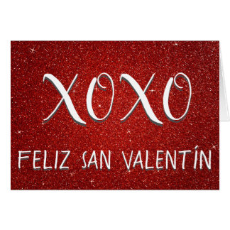 XOXO Feliz San Valentín Red Glitter and Sparkle Card