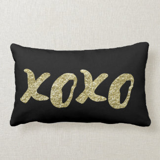 XOXO Gold Accent Throw Pillow