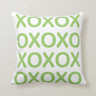 XOXO Green and White Pillow