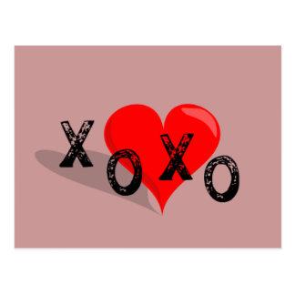 XOXO Heart Hugs and Kisses Postcard