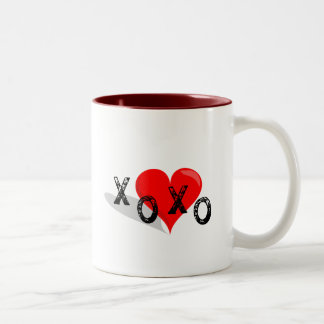 XOXO Heart Hugs and Kisses Two-Tone Coffee Mug