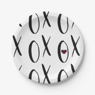 XOXO Heart Paper Plate