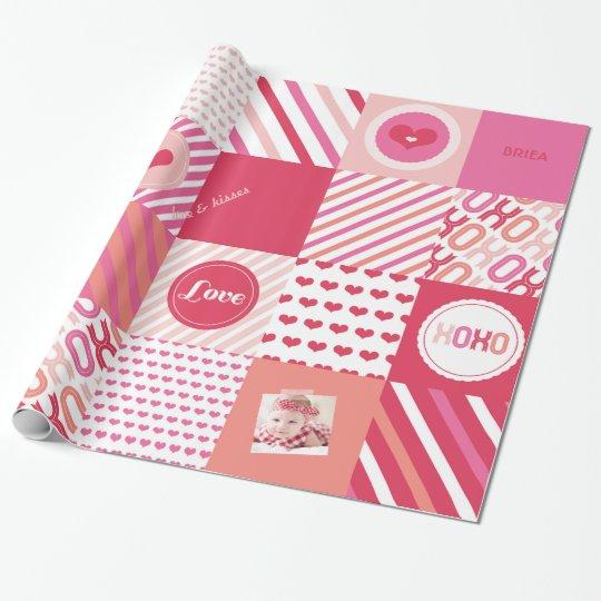XOXO Hot Pink Valentine Patchwork Sweet Love Photo