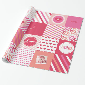 XOXO Hot Pink Valentine Patchwork Sweet Love Photo Wrapping Paper