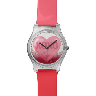 XoXo Hugs and Kisses Heart Festival | pink red Wrist Watches