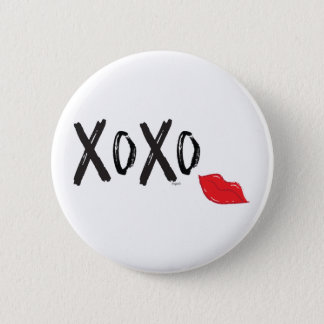 XoXo-Hugs-Kisses-with-Red-Lips 2 Inch Round Button