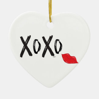 XoXo-Hugs-Kisses-with-Red-Lips Ceramic Ornament