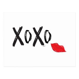 XoXo-Hugs-Kisses-with-Red-Lips Postcard