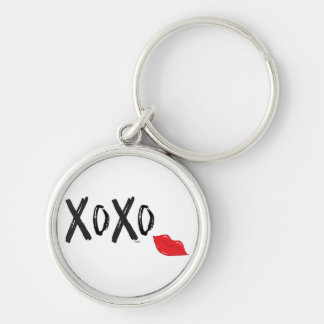 XoXo-Hugs-Kisses-with-Red-Lips Silver-Colored Round Keychain