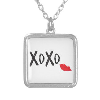 XoXo-Hugs-Kisses-with-Red-Lips Silver Plated Necklace