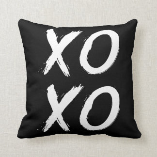 XOXO Kiss and Hug | Black White Brush Script Throw Pillow