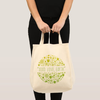 """XOXO. Love, Earth."" Happy Earth Reusable Grocery Tote Bag"