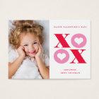 XOXO modern photo classroom valentines day card