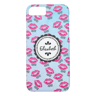 XOXO! Pattern with Sexy Pink Kissy Lips iPhone 8/7 Case