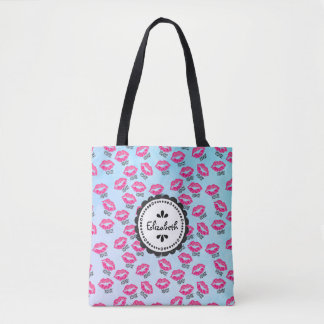 XOXO! Pattern with Sexy Pink Kissy Lips Tote Bag