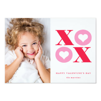 "xoxo photo valentine's day card 5"" x 7"" invitation card"