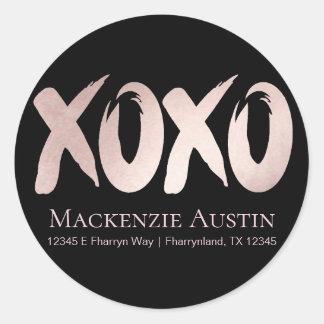 XOXO Pink Black | Girly Glam Brushstroke Address Classic Round Sticker