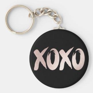 XOXO Pink Black | Modern Hugs Kisses Brushstroke Keychain