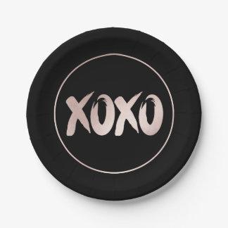 XOXO Pink Black   Modern Hugs Kisses Brushstroke Paper Plate