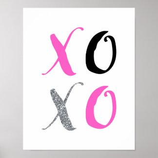 XOXO - Pink Typography - White Poster