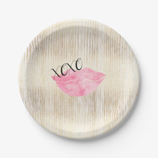 XOXO Pink Watercolor Lips Paper Plate