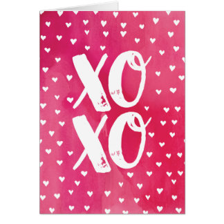 XOXO Pink Watercolor Valentine's Day Card