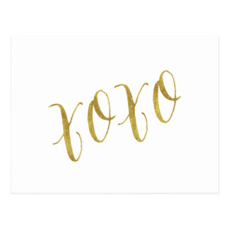 XOXO Quote Faux Gold Glitter Background Template Postcard