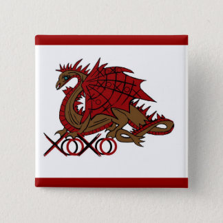 XOXO red and brown dragon 2 Inch Square Button