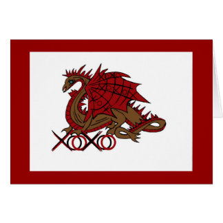 XOXO red and brown dragon Card