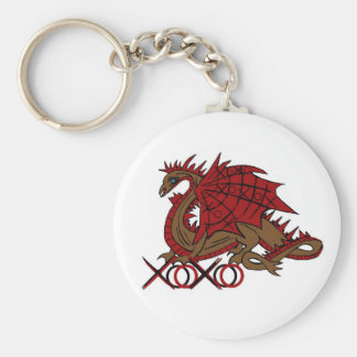XOXO red and brown dragon Keychain