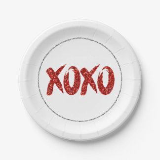 XOXO Red Glitter   Glam Brushstroke Hug and Kisses Paper Plate