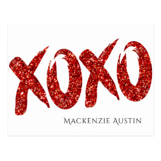 XOXO Red Glitter | Modern Chic Glam Brushstroke Postcard