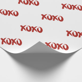 XOXO Red Glitter | Valentines Day Chic Brushstroke Wrapping Paper