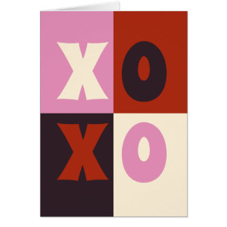 XOXO Red Pink Eggplant Ivory Card