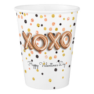 XOXO Rose Gold Balloons | Valentine's Day Paper Cup