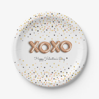 XOXO Rose Gold Balloons | Valentine's Day Paper Plate