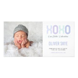 XOXO Sweet Valentine Baby Boy Announcement Photo Customized Photo Card