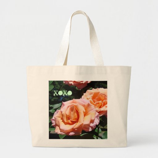XOXO Tote Bags Pink Orange Rose Flowers gifts