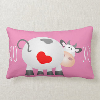 XOXO Valentine's Day Cute Cow With Red Love Heart Lumbar Pillow