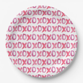 XOXO Valentine's Day Patterned 9 Inch Paper Plate