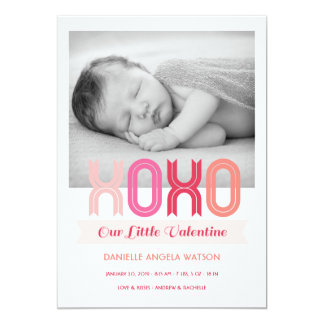 XOXO Valentine's Day Photo Birth Announcement
